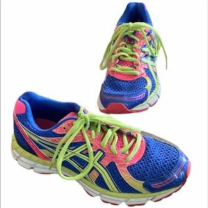 ASICS Gel 2 Excite Neon Running Shoes 6.5 Colorful